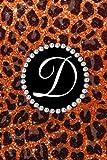 D: Faux orange leopard glitter black monogram initial D Journal