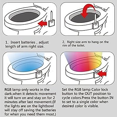 Motion Activated Toilet Night Light,AUSAYE Motion Sensor LED Toilet Seat Light,16 Color Changing Light Sensor Nightlight, Toilet Bowl Light with UV Sterilizer + PVC Fragrance Slice