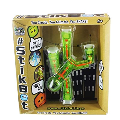 Stikbot, Green and Orange Stikbot Figure, 3 Inches: Toys & Games
