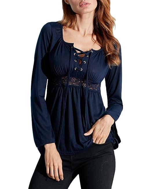 048bdb18369b8f StyleDome Donna Maglietta Manica Lunga Casual Autunno Maglia Moda Elegante  Collo V Maglieria Shirt Top: Amazon.it: Abbigliamento