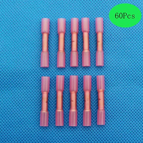 Raogoodcx 60Pcs Heat Shrink Connectors, 22-16 AWG Insulated Heat Shrink Waterproof Marine Automotive Grade Terminal Set Butt Splice Connectors Wire electrical Assortment Kit Red by Raogoodcx