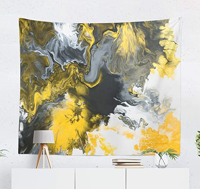 Grey and Yellow Art Tapestry, Black and White with Gold Marble Abstract