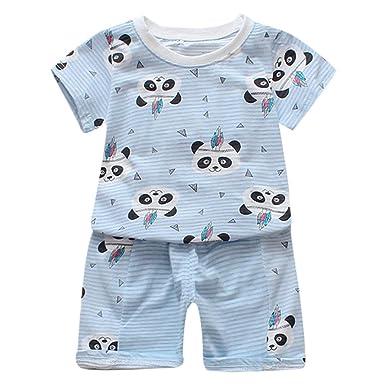3a12e51eb923 Minisoya Summer Toddler Kids Baby Boys Girls Cute Cartoon Printed Tops T- Shirt Floral Shorts