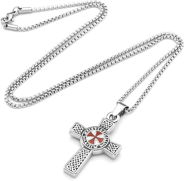 Zysta Collier en Acier Inoxydable avec Pendentif en Forme de Croix Celtique pour Homme et Femme avec cha/îne de 24