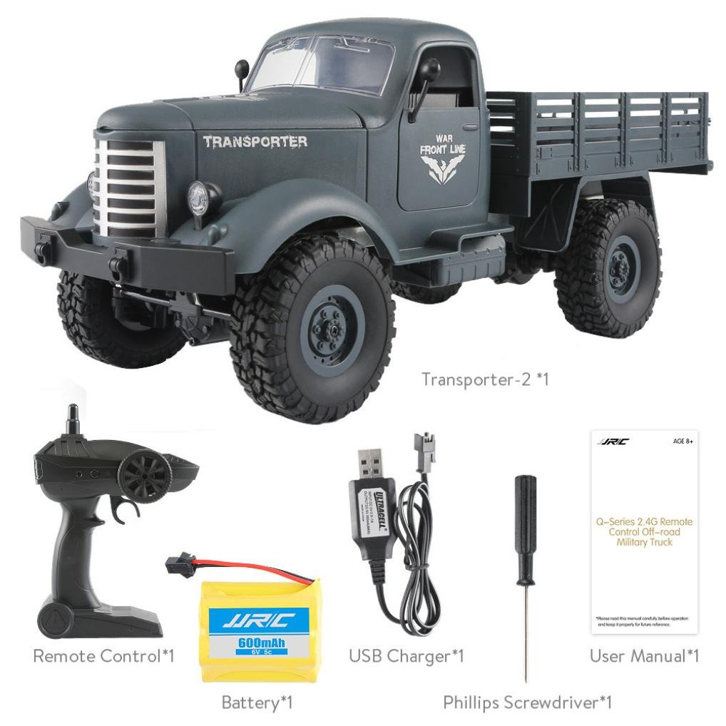 Mikey Store RC Military Truck Off Road JJRC Q61 1:16 2.4G Remote Control 4WD RTR Toy (Blue)