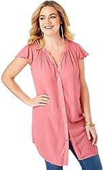 202d2c0e48372 Roamans Women s Plus Size Flutter-Sleeve Angelina Tunic