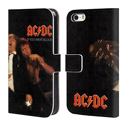 Officiel AC/DC ACDC Si Vous Voulez Sang Couverture D'album Étui Coque De Livre En Cuir Pour Apple iPhone 5 / 5s / SE