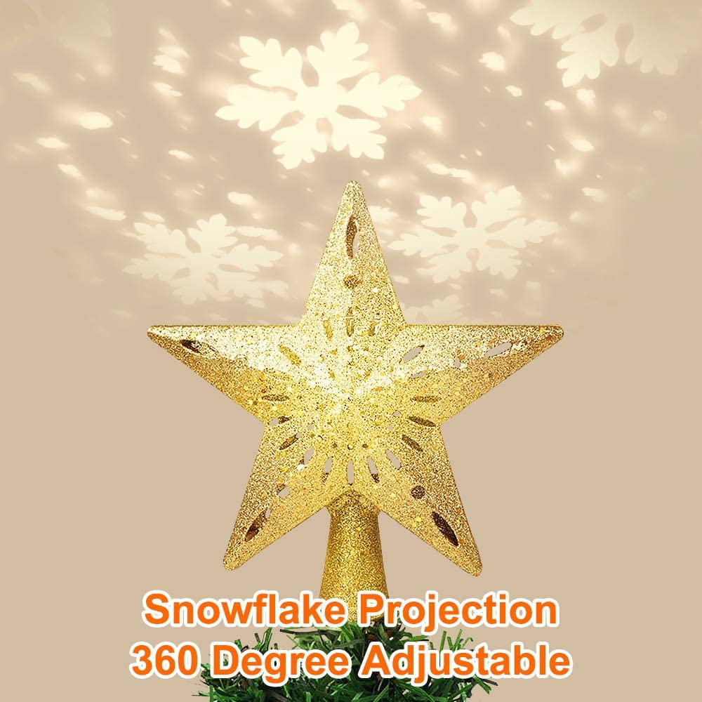 Gold Christmas Tree Topper Star Lighted 3D LED Light Christmas Tree Top Snowflake Projector for Indoor Christmas Tree Decorations