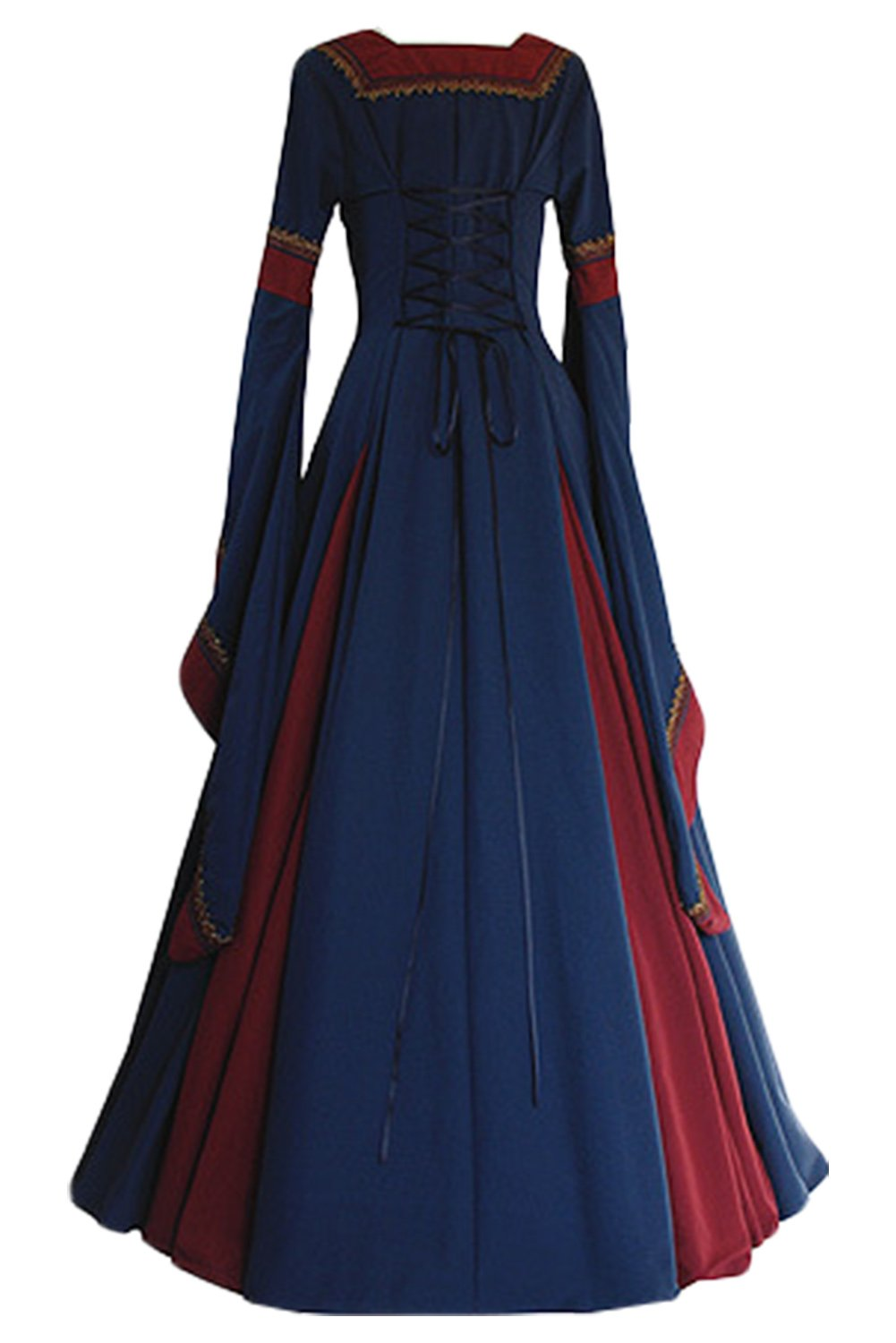 Amazon.com: COSMOVIE Womens Medieval Dress Gothic Long Sleeved Victorian Dress Lace up Floor Length Dress Halloween Cosplay Dress: Clothing
