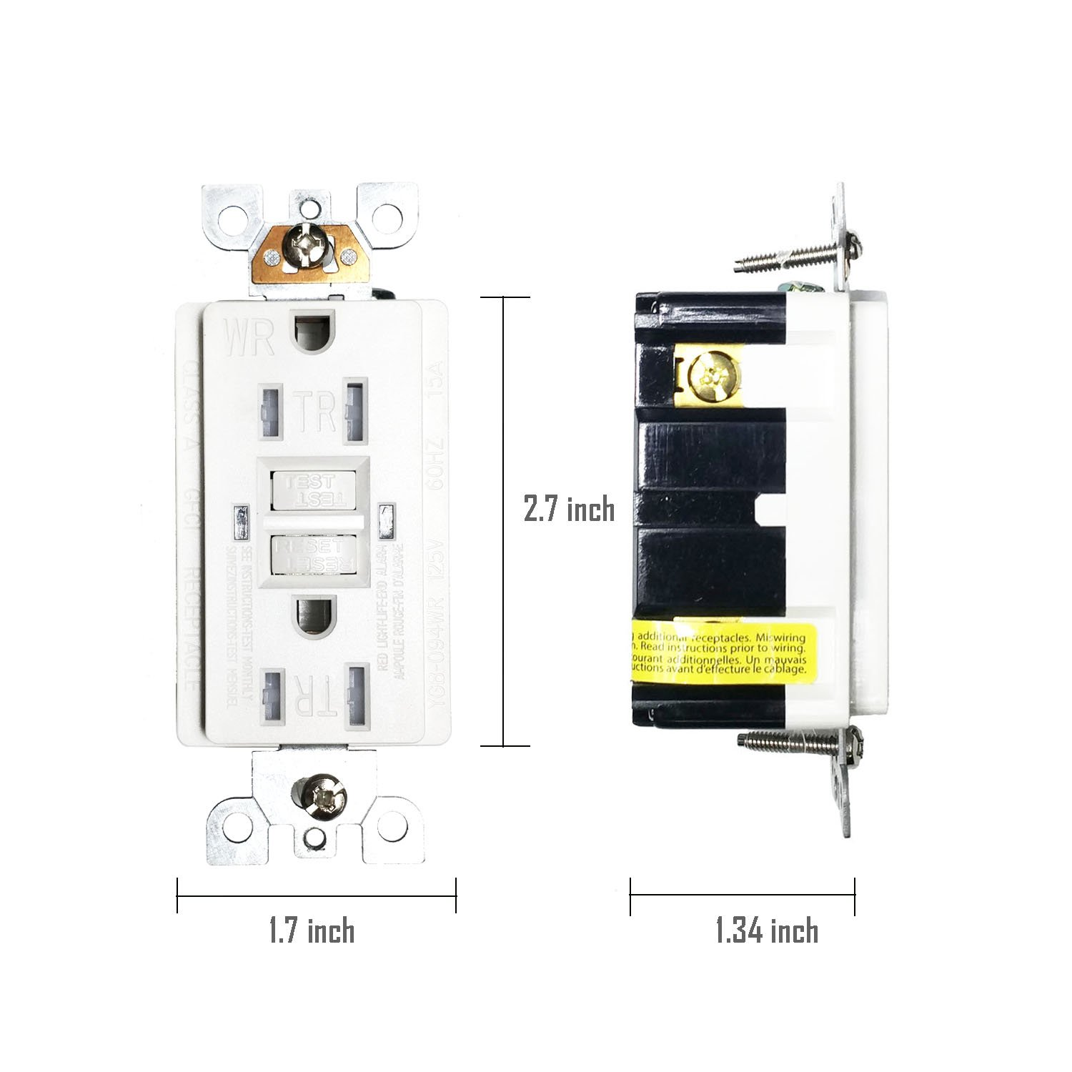GFCI 15A TR WR Wall Outlet - LASOCKETS 15 Amp 125 Volt Tamper Resistant Socket For Standard Wall Receptacle Outlet, Residential Grade, Grounding, with Wall Plates, UL Listed (1 Pack) by LASOCKETS (Image #6)