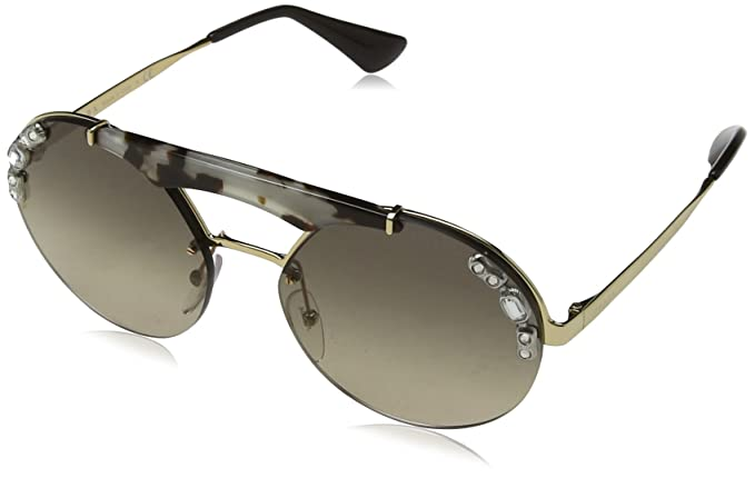 Prada Damen Sonnenbrille 0PR52US C3O3D0, Braun (Gold/Opal Spotted Brown/Light Brown Light Grey), 37