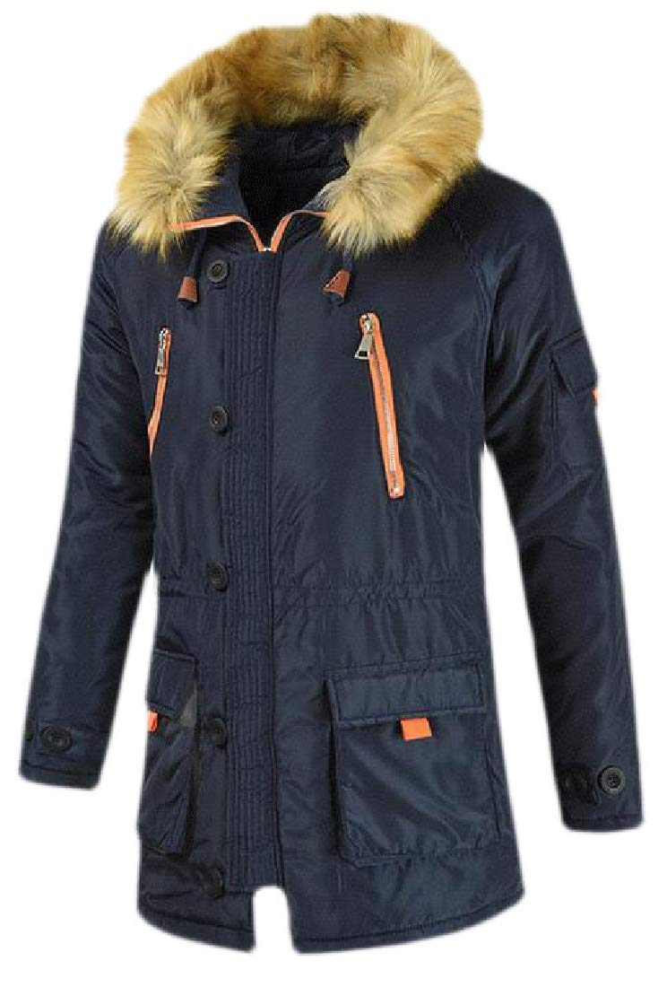 Spirio Mens Winter Thicken Hooded Bomber Warm Zip-Up Quilted Padded Puffer Jacket