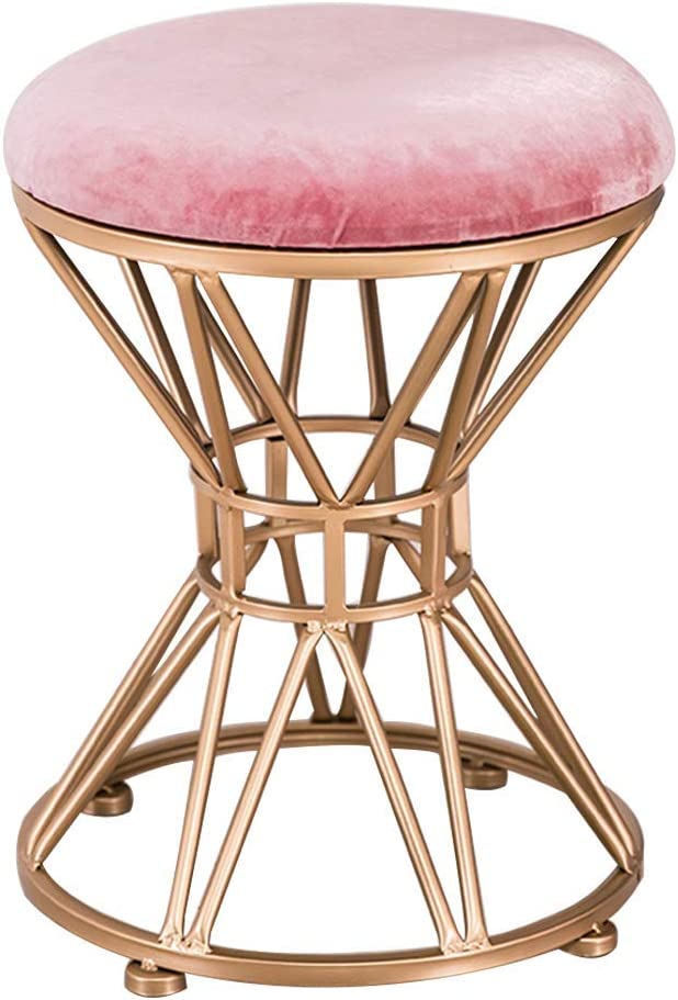 NSYNSY ootstools Mid-Century Round Velvet Pink Ottomans Stool, Upholstered Pouffe Chair, Bedroom Vanity Stool (Iron Legs)