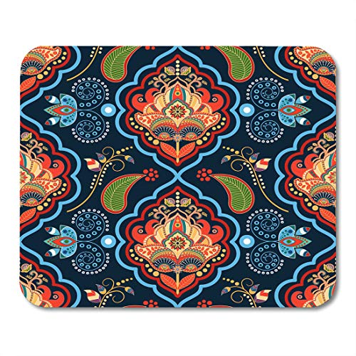 Pad Decoupage (Boszina Mouse Pads Decoupage Indian Floral Gold and Blue with Batik Flower Mouse Pad for notebooks,Desktop Computers mats 9.5