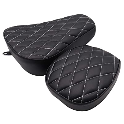 GOOFIT Motorcycle Black Front Rider Solo Seat + Rear Passenger Cushion Compatible with Harley Sportster Forty Eight Seventy Two 883 48 72 2004-2020(Rhombus): Automotive