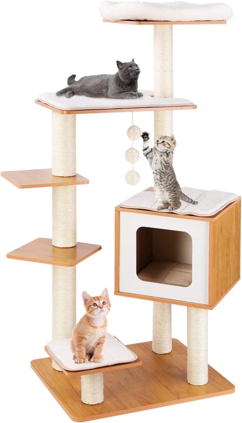 LAZY BUDDY Árboles para Gatos 132 cm, Rascador para Gatos, 100% Sisal, con Alfombrillas Lavables Extraíbles