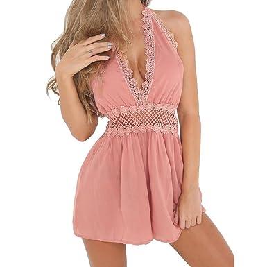 9367dbf916 YUAFOAE Femme Sexy sans Manches Cou Suspendu Dos Nu Combinaison Pantalon  Romper Chic pour SoiréE De