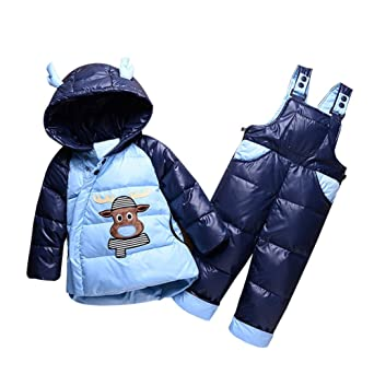 b4994c1247cc Amazon.com  Baby Girls Warm Snowsuit Toddler Puffer Hooded Jacket + ...