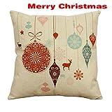 (US) ShellMiMi Merry Christmas Series Cushion Cover Santa Claus Christmas Tree Christmas Gifts And Snowman Printing Throw Pillow Pillowcase Cover (Elk Gift)