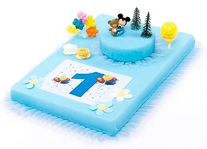 Decoración para tartas (1. Cumpleaños Mickey Mouse Baby 11 piezas tarta Pasteles Decorar Tartas
