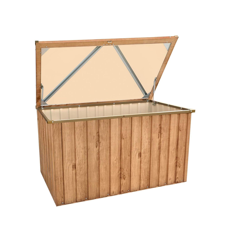 Tepro Metall-Gartentruhe 590 Liter in Holz-Optik Eiche inkl. Bodenplatte
