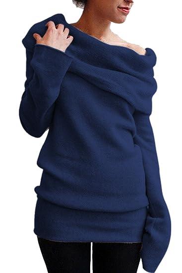 cdfc3b02be1a19 Aidonger Damen Strickpullover Asymmetrisch Pulli Lang Schulterfrei  Langarmshirt