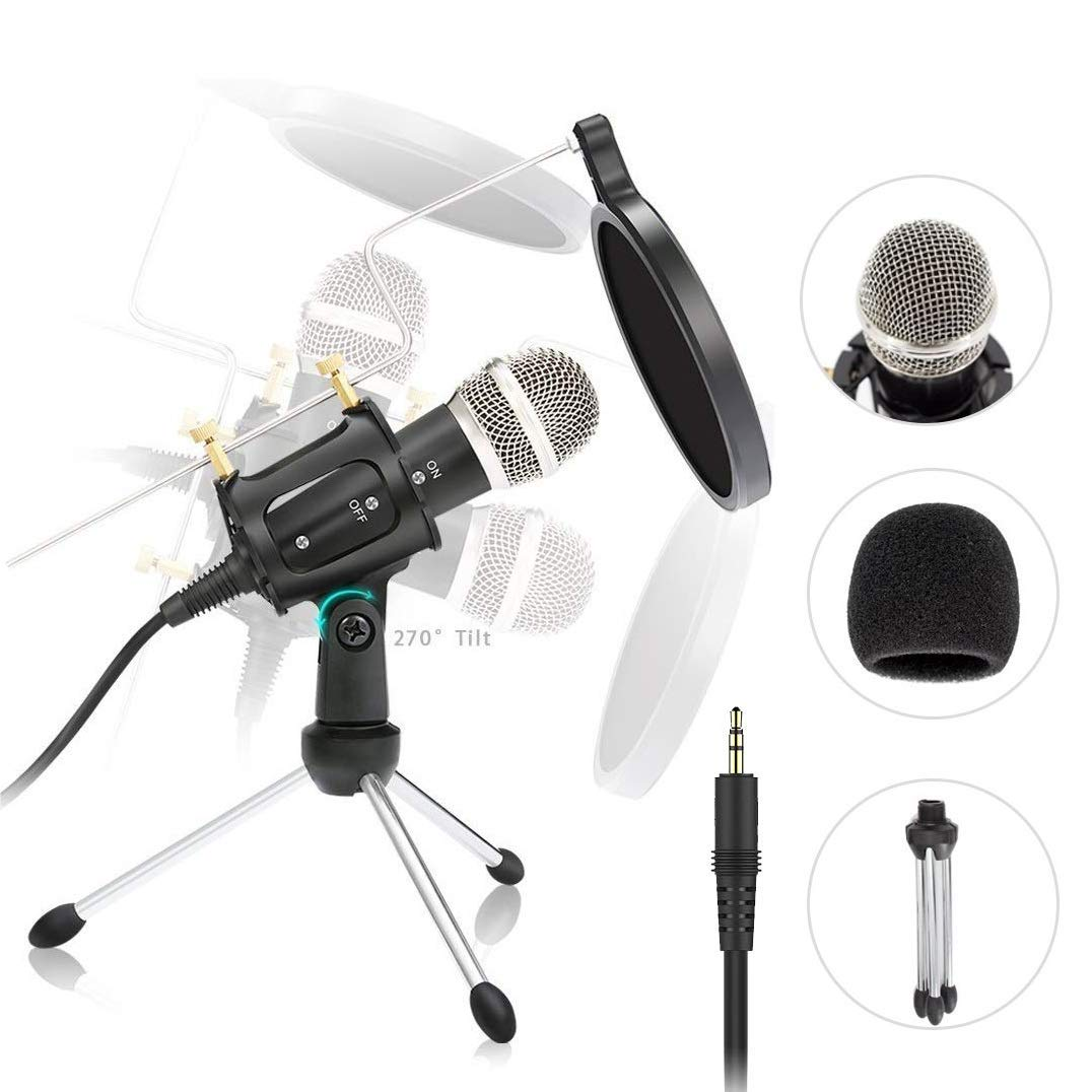 Studio Recording Microphone  Condenser Microphone Professional PC Live Streaming Cardioid Microphone Kit with Shock Mount, Pop Filter Plug and Play PC Microphone for Broadcasting, Recording, YouTube