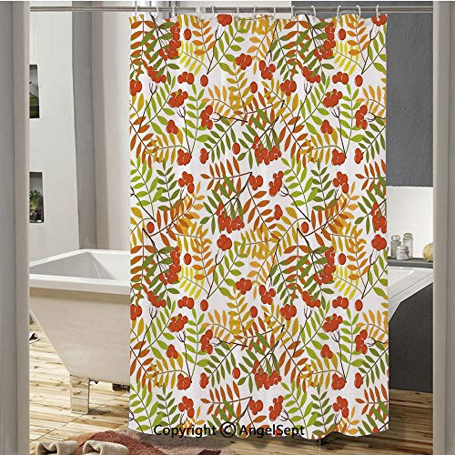 Wilderness Rural Nature Theme in Autumn Season Rowan Flora Plant Shrubs Bathroom Shower Curtain(37