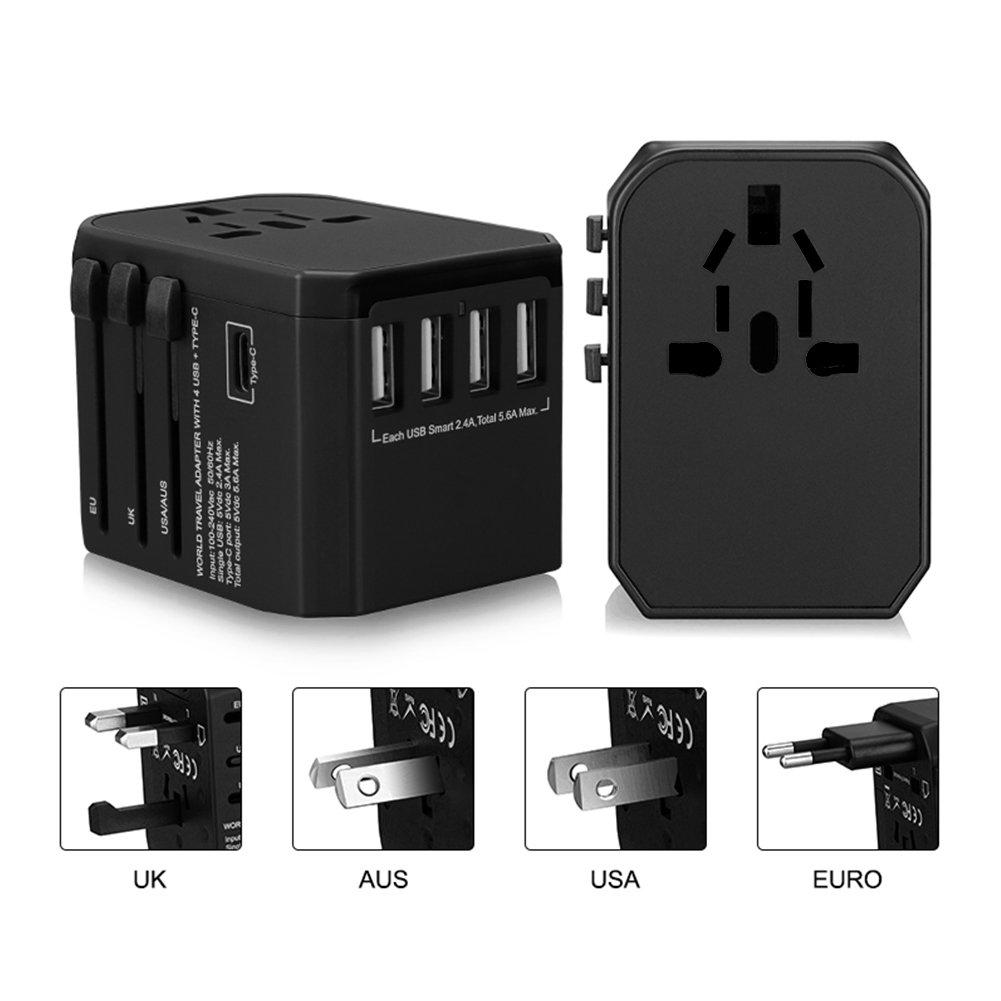 Colleer Adattatore da Viaggio Universale Caricatore All-in-One per EU UK US AU Travel Adapter con 4 USB Porte + Type C Caricatore Multifunzioni CLIT0020-1