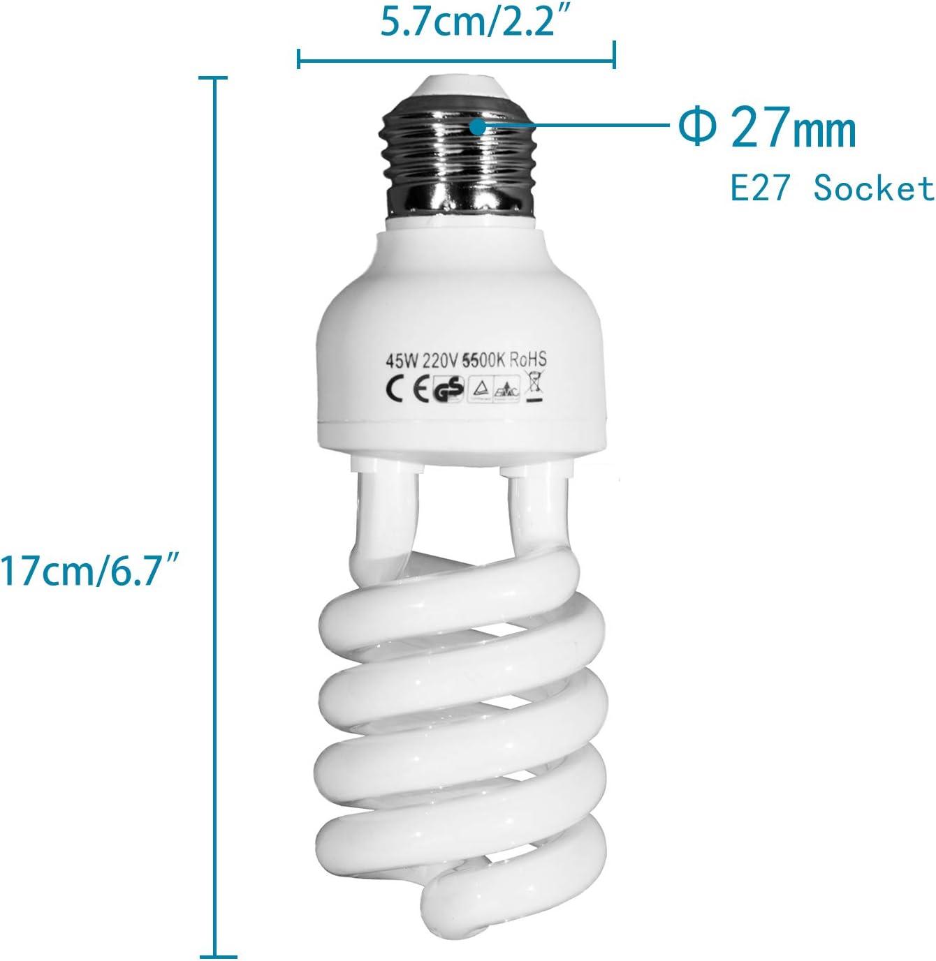 2 X 45w E27 5500k Fluorescent Light Bulbs Daylight Kamera