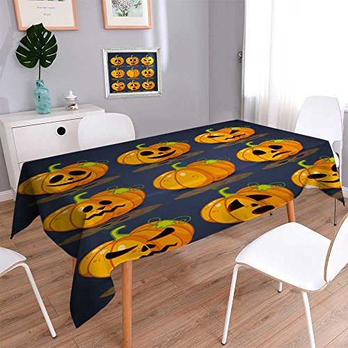 (PRUNUSHOME Spillproof Fabric Tablecloth Poster,banner and background for pumpkins for Halloween wear-resistant, washable, anti-liquid spill/52W x 52L)