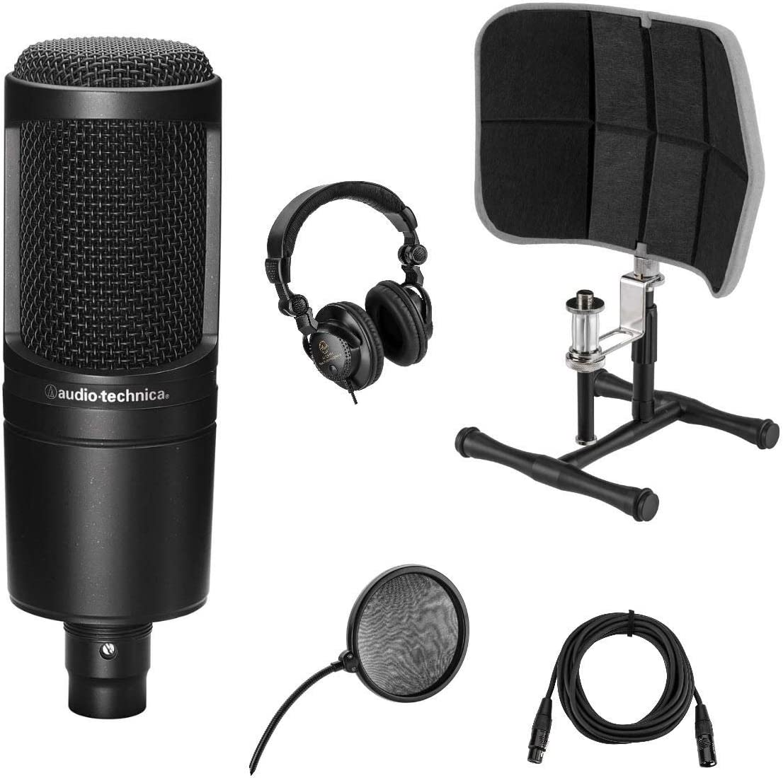 Audio-Technica AT2020 Cardioid Condenser Microphone - Bundle With Professional Desktop Isolation Filter, Studio Monitor Headphones, 15' XLR M to XLR F Mic Cable, Pop Filter