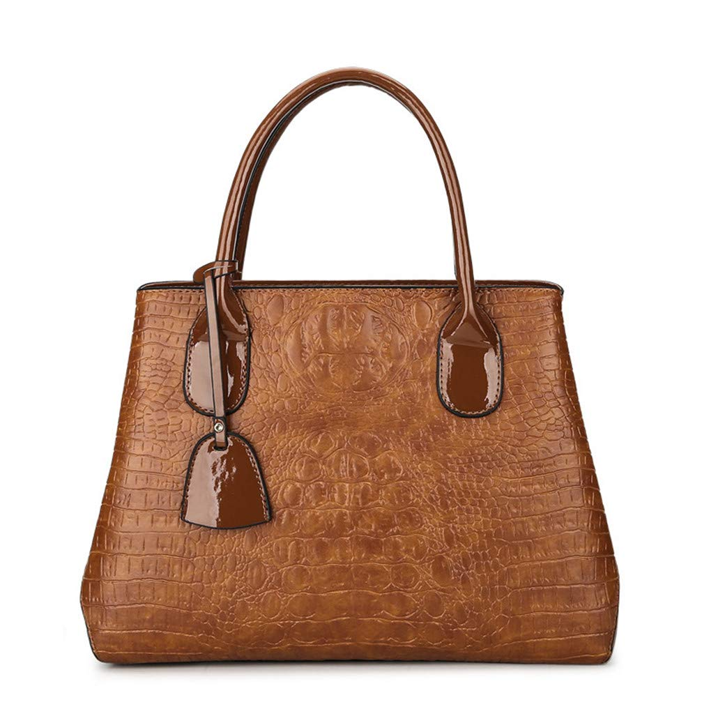 TRYB.UO Winter Personalized Crocodile Pattern Handbag Fashion Shoulder Messenger Messenger Bag Brown W35H26D15 cm