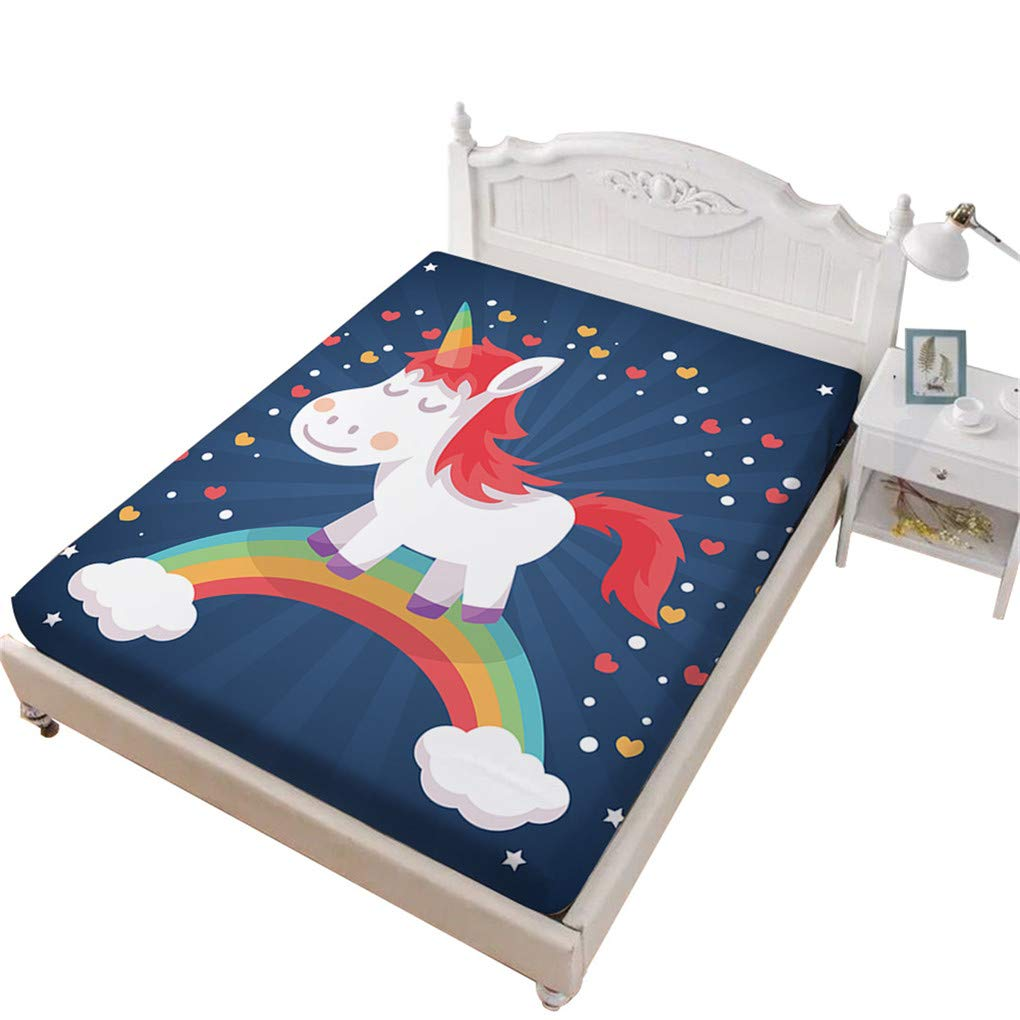 VITALE Full Size Sheet, Cartoon Unicorn Printed Bedding Fitted Sheet Full Size, Navy Blue 1 Piece Deep Pocket Full Fitted Sheet Girl's Bedding Decoration
