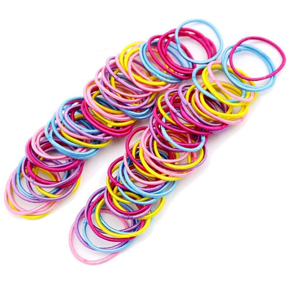 WeiMay 100pcs coloré élastique de Queue de Cheval Extensible Mince Cheveux Ties Bandeau pour bébé Fille Enfant