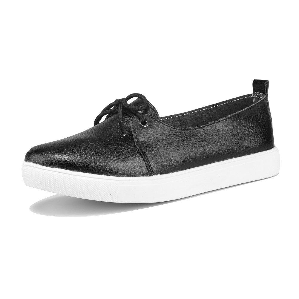 MXTGRUU Women's Leather Casual Slip-ONS Shoes B07DNN9YHJ 8.5 B(M) US|Black-3
