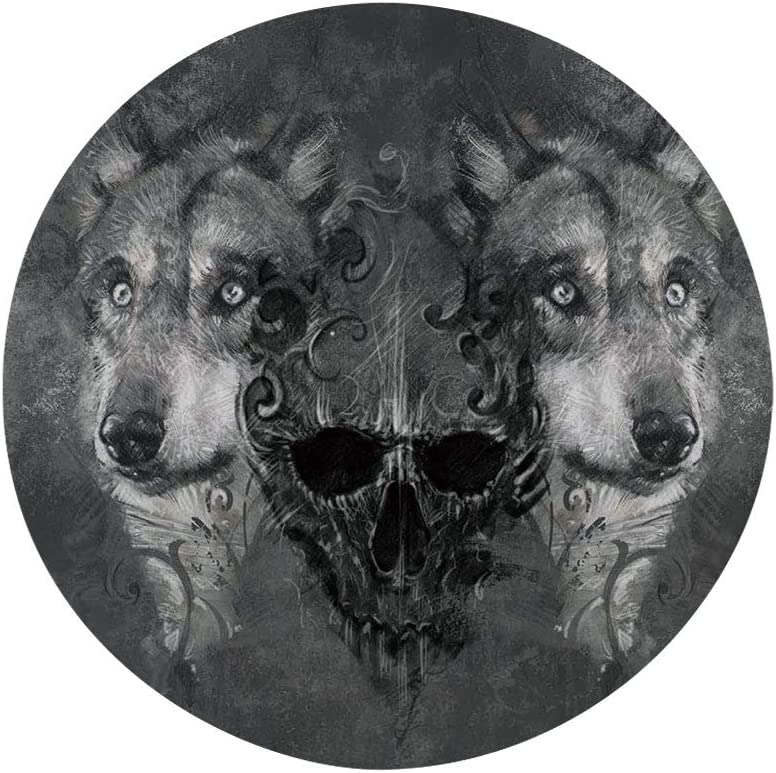 "Ylljy00 Wolf 8"" Dinner Plate,Abstract Skull Figure Between Two Canine Animals Wildlife Grunge Tattoo Like Artwork Ceramic Decorative Plates,Dining Table Tabletop Home Decor,Grey Black"
