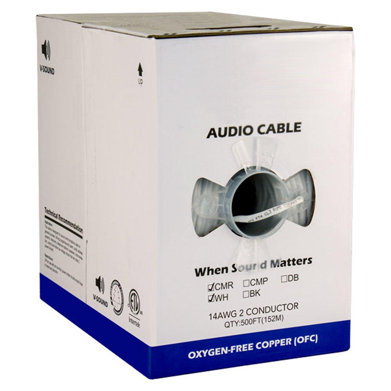 オーディオケーブル、14 AWG、2 Conductor、41ストランド500 ft、PVC、ジャケット、Pullボックス、ホワイト   B00B1FH3XU