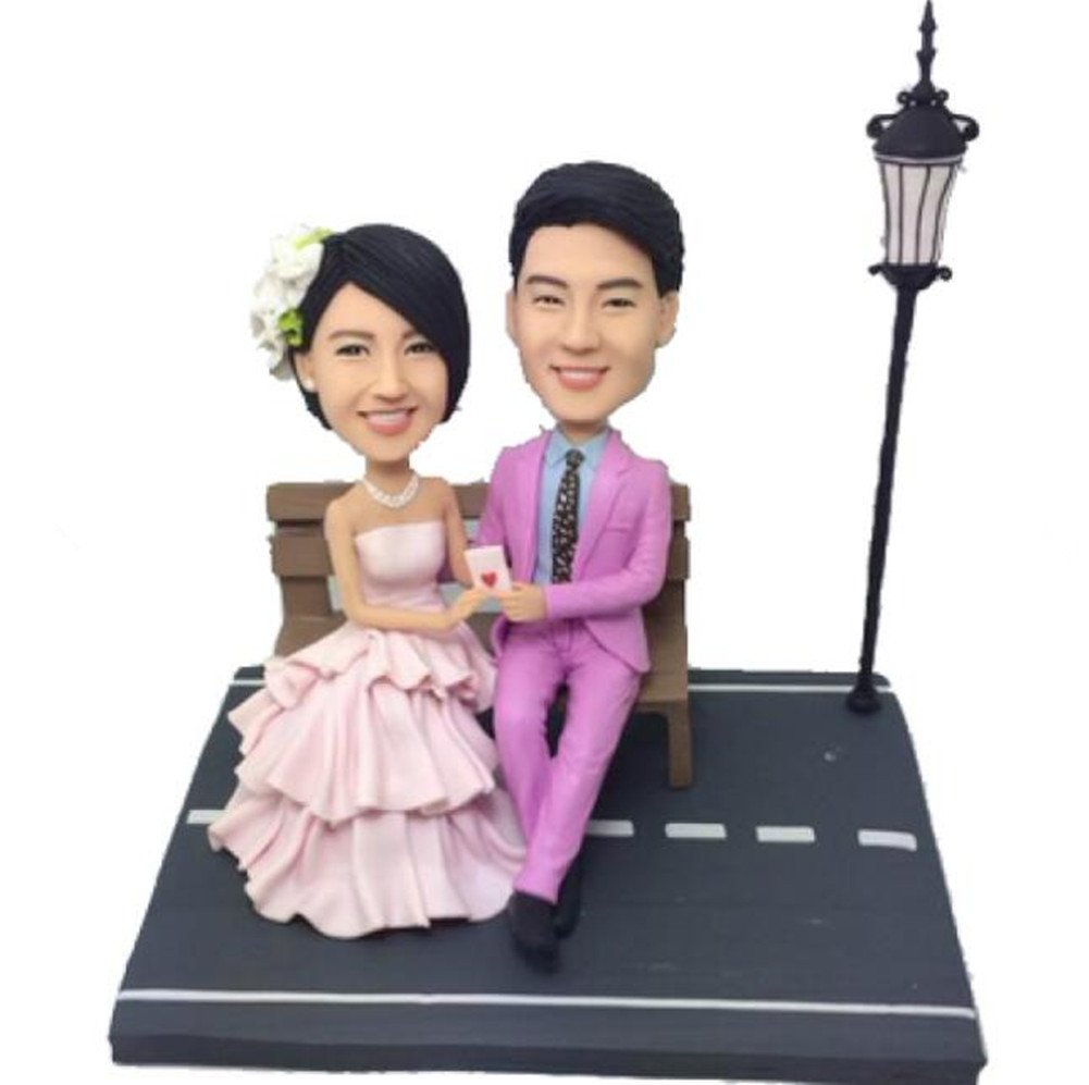 Custom Create Your Own Couple Light Wedding Bobble head Polymer Clay Handmade Bobbleheads Cake Toppers by MiniBobbleheads