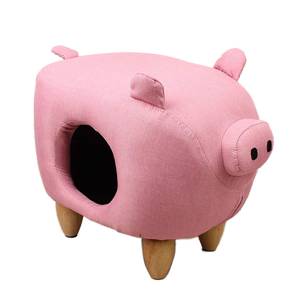 Pink QNMM Fashion Creative Pig Type Pet Stool Cat Nest Animal Modeling Decorative Furniture Four Seasons Universal Cat Stool Nest Suitable For Small Pet Rest,Pink