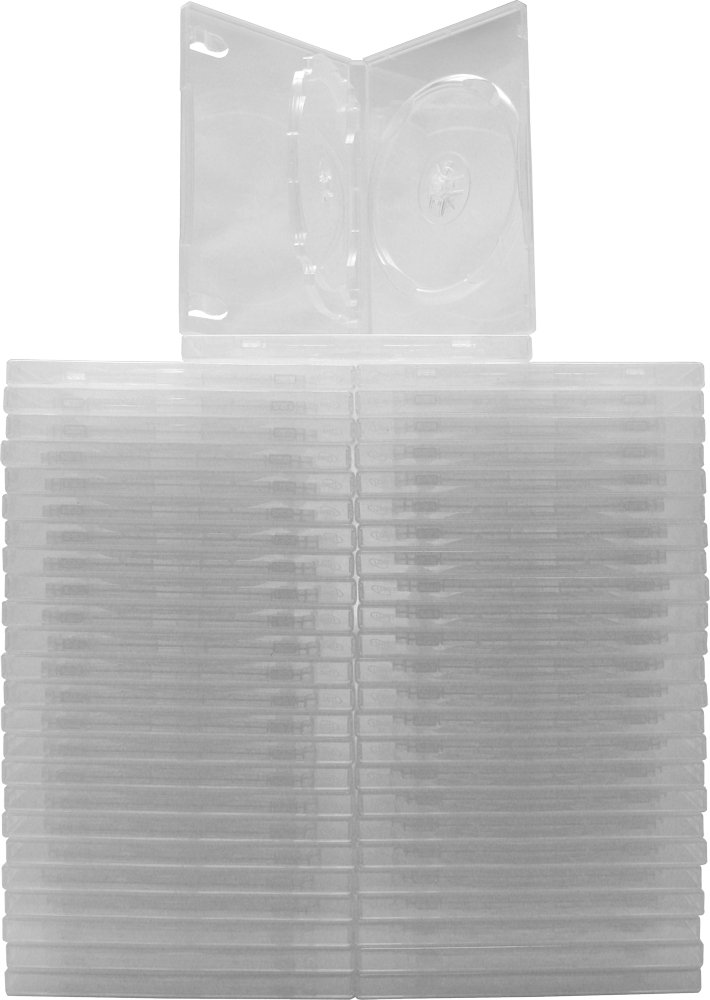 Square Deal Recordings & Supplies (50) Clear Thin Triple DVD Hinged Empty Replacement Boxes/Cases with Wrap Around Sleeve #DV3R14CL (14mm) (3DVD)