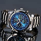 Stauer Blue Stone Stainless Steel Chronograph with Stainless Steel Link Bracelet