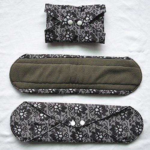 5 Pieces Charcoal Bamboo Mama Cloth/ Menstrual Pads/ Reusable Sanitary Pads (Overnight (14 inch), Black Lace) Photo #3