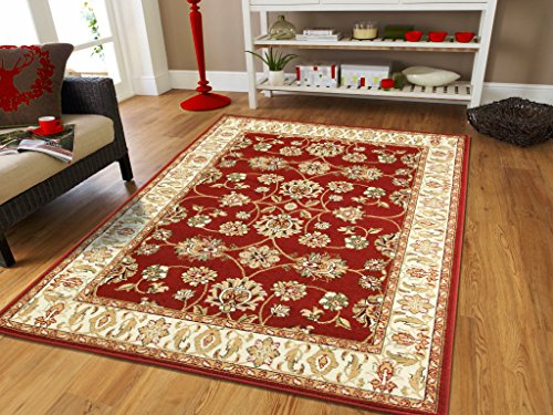 Traditional Area Rug For Living Rooms Red All-Over Persian Rugs (2'x8′ Hallway Runner, Red)