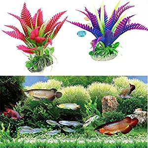 Lucky-fairy-Simulated water grass 1Pc Small Purple/Red Artificial Fish Plants for Aquarium Ornaments Plastic Plant Flower Fish Tank Decor,a,S