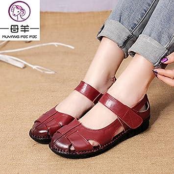 9195e7f985a Compra MIE MIE MUYANG Verano zapatos de mujer mujer sandalias planas de  cuero auténtico casual femenino Open toe sandalias de suela suave mujeres  sandalias