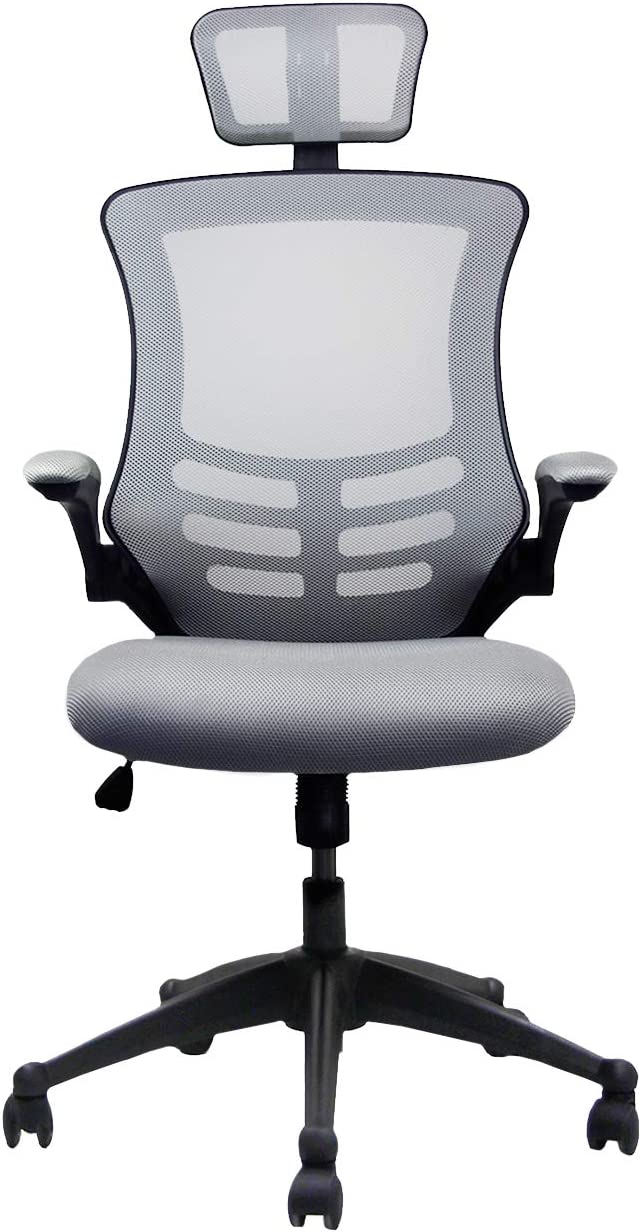 Modern High Back Mesh Executive Chair with Headrest and Flip Up Arms Silver Grey Color