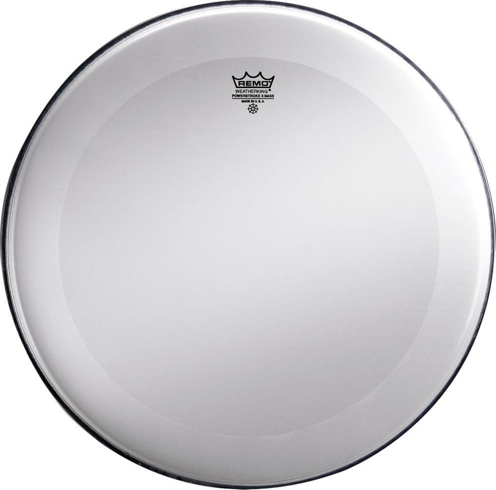 Remo Powerstroke 3 Bass Drum Head Smooth White No Stripe 24