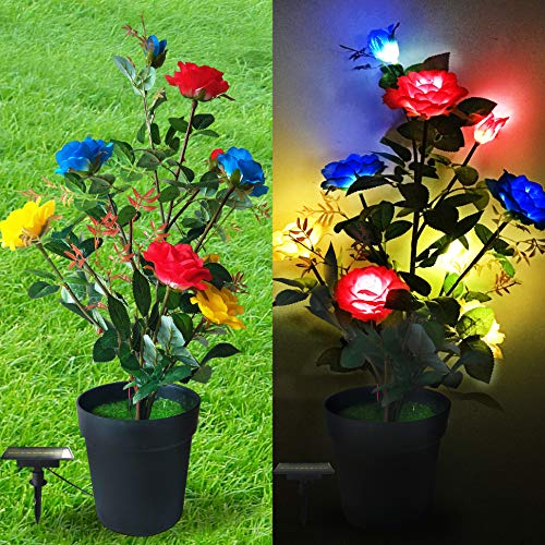 MAGCOLOR Solar Garden Stake Lights Outdoor, Solar Powered Flower Lights for Decorating Garden, Patio, Backyard (Multicolor)