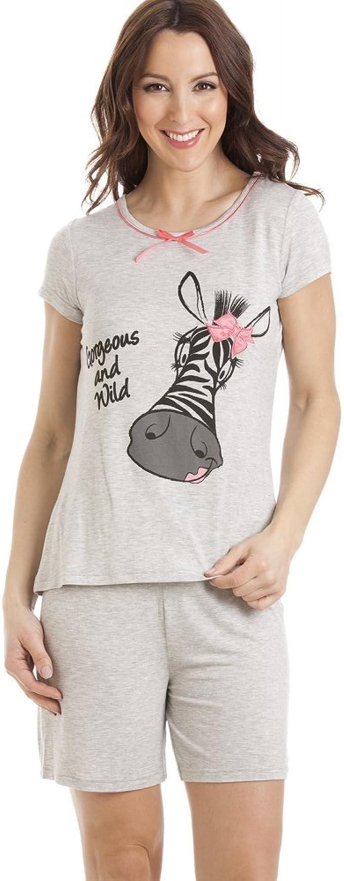 Pijama con pantalón Corto y Camiseta de Manga Corta - Motivo Cebra - Gris